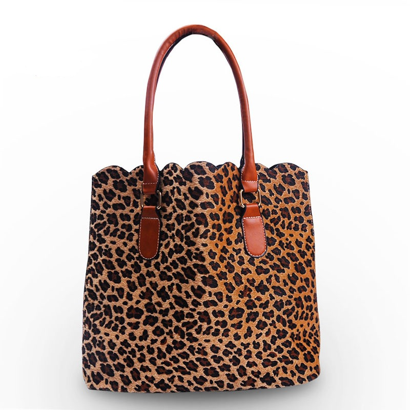 Short Fur Leopard Tote Bag Cheetah Women Handbag with Faux Leather Handle  Scalloped Purses DOM103172-in Top-Handle Bags from Luggage & Bags on ...