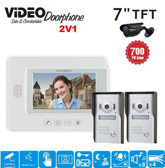 ZHUDELE 7 Video Door Intercom Doorphone with camera security system doorbell 2 to 1 videocitofono sistema Home security