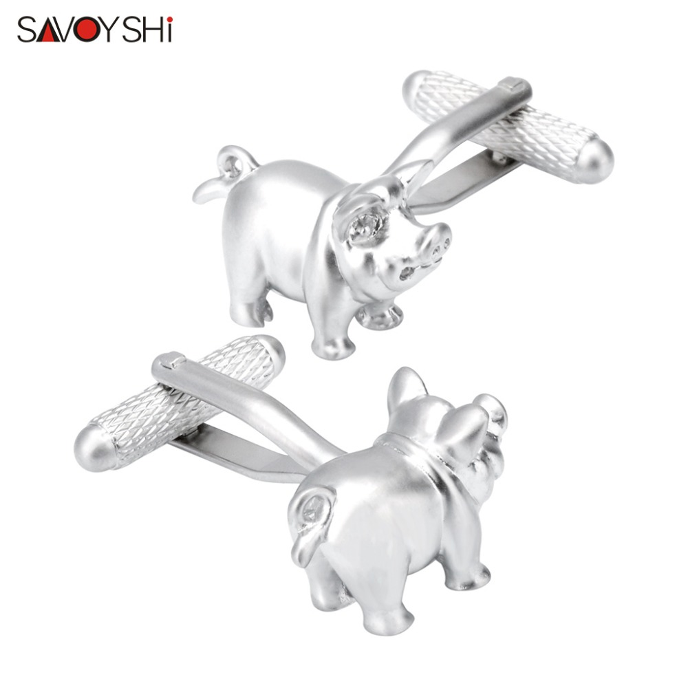 SAVOYSHI Personality Cute Pig Cufflinks For Mens High Quality French Shirt Metal Wedding Groom Cuff links Brand Jewelry Gift star wars cufflinks for mens metal cuff buttons man french shirt wedding stormtrooper darth vader jewelry gift cuff links