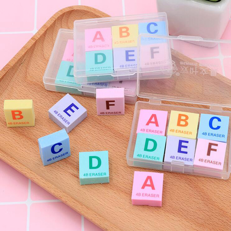 6 Pcs/set Novel English Letter A-F Boxed Pencil Eraser Child Pencil Writing Correction Supplies Office School Rubber Stationery