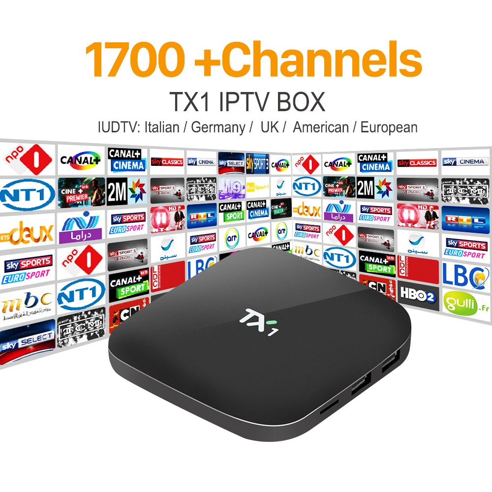 Arabic IPTV Smart Android TV Box with 1 Year Subscription 1700 Channels European Italy UK IPTV Account Media Player