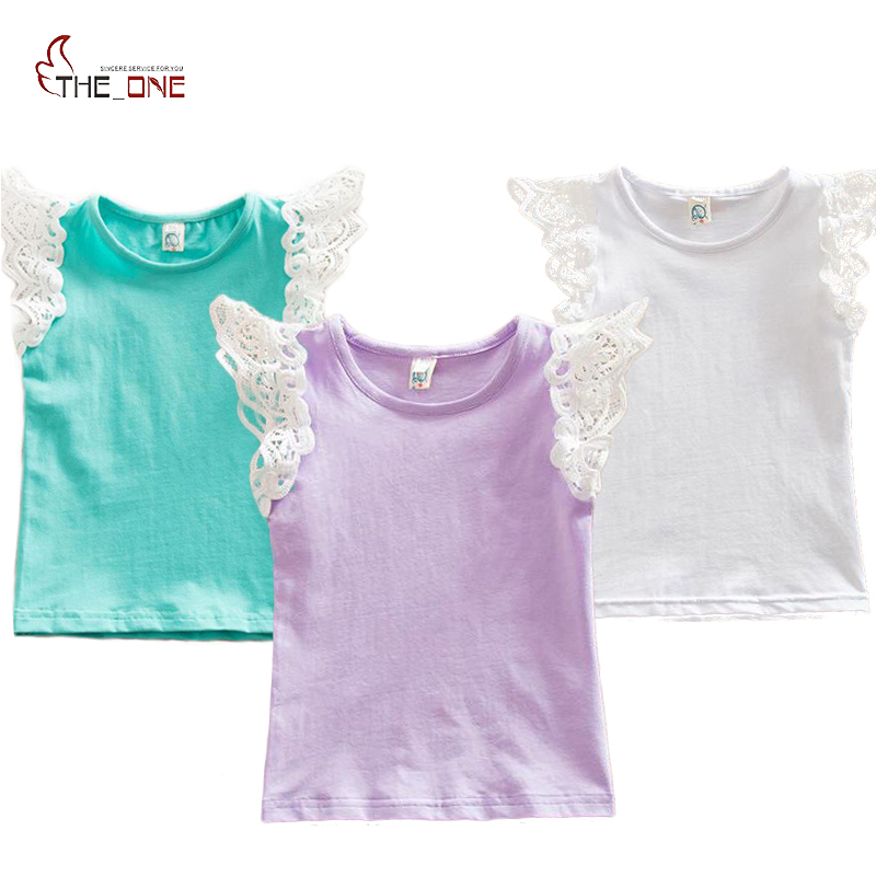 MUABABY 0-5T Baby Girls Flying Sleeve Cotton Lace Shirt Kids Girl Striped Soft Vest Infant Tank Tops Tees Summer Clothes T428