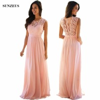 A Line Long Pink Chiffon Bridesmaid Dress Lace Wedding Party Gowns See Through Back Robe Demoiselle