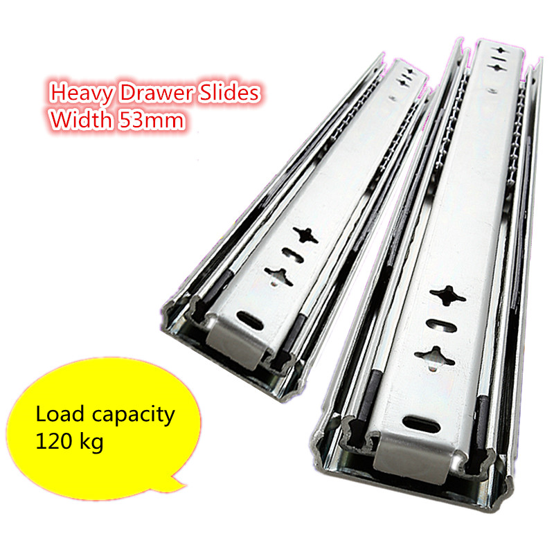 цена на Heavy rail three rail 53mm wide damping RV load bearing drawer track slide self locking Industrial Guide