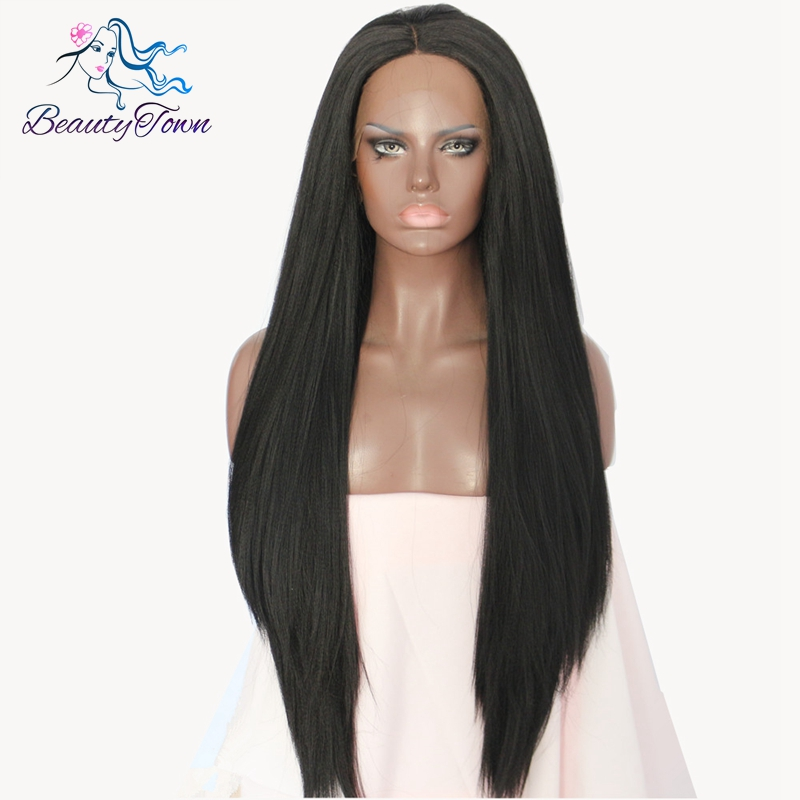 BeautyTown Natural Long Glueless Black Color Yaki Straigt Heat Resistant Hair Women Makeup Synthetic Lace Front