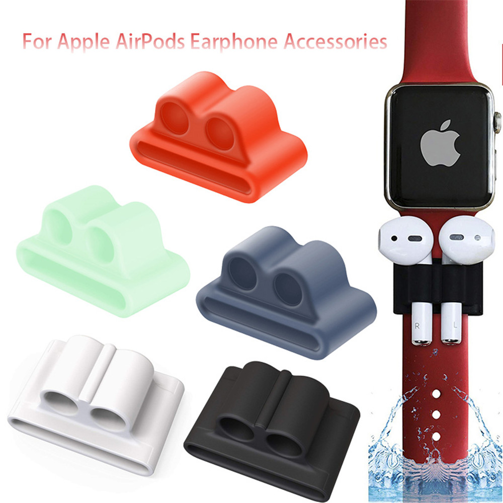 For Apple AirPods Earphone Accessories Anti-Lost Wireless Earphone Silicone Holder Stand Clip For Apple Watch Strap