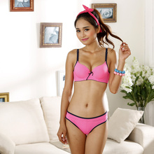 2017 New Japanese Cotton Sexy Cute Bra Set Intimates Sets Candy Color Glossy Solid Color Underwear Women Lingerie Bra And Panty