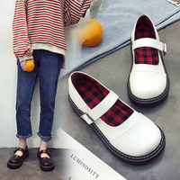 HIZCINTH 2018 Spring/autumn Mary Janes Shoes Woman Leather Round Toe Buckle Flats Shoes Leisure Loafers Flat Platform Shoes