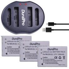 DuraPro 3pc EN EL5 EN EL5 EL5 Li ion Rechargeable Battery Dual USB Charger For Nikon