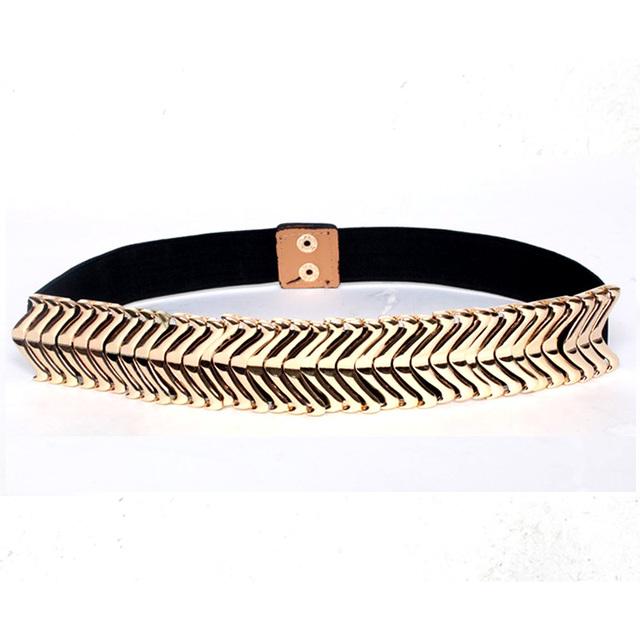 Europa Diseñador de la marca de Lujo de Las Mujeres decoración de metal elástico cinturones de punk femenino de la manera simple vestido de cintura faja accesorios