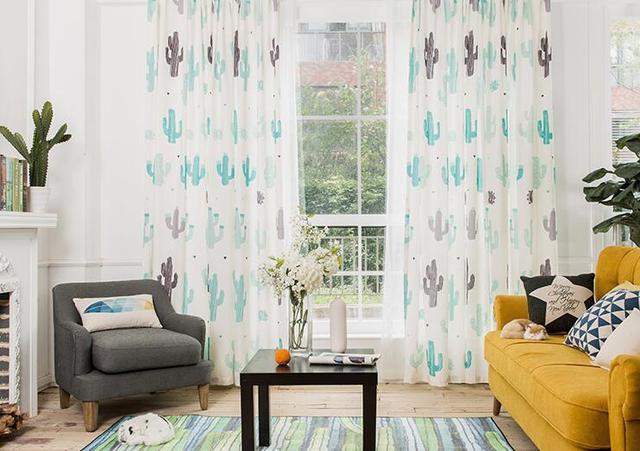 US $30.0 |Sträucher einfache moderne kreative grünpflanzen leinen vorhänge  wohnzimmer schlafzimmer piazza vorhänge fertig benutzerdefinierte in ...