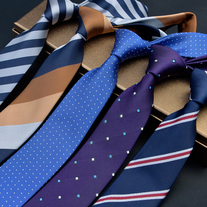 New Fashion 6cm Mens Ties For Man Plaid Jacquard Woven Slim Tie Wedding Stripe Corbatas Gravata Business Skinny Neck Tie
