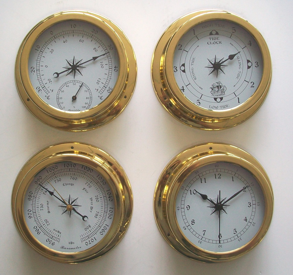 4 pcs set Brass Case Traditional Weather Station Barometer Temperature Hygrometer and Tide Clock 145mm Large