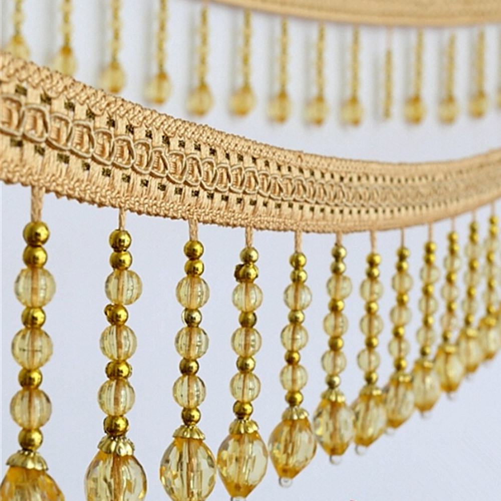 12meters Briaded Hanging Beads Tassel Fringe Trimming Applique Fabric Ribbon Tape Band Curtain Table Wedding Decorated T2583-in Tassel Fringe from Home & Garden    2