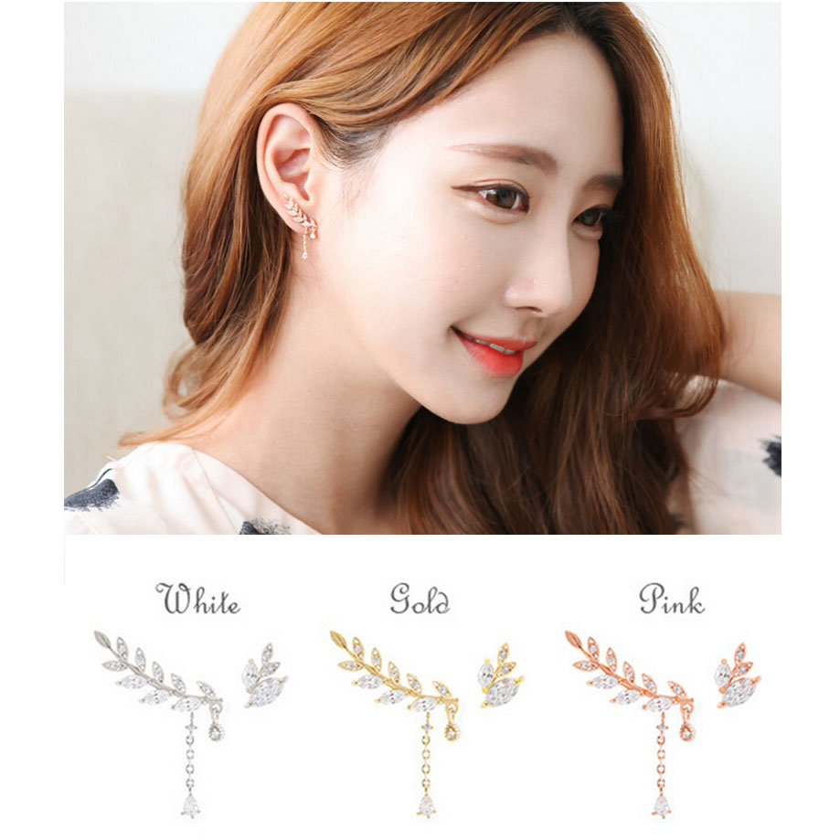 Buy 2016 Korean Style New Fashion Crystal Leaves Stud Earrings For Women Double