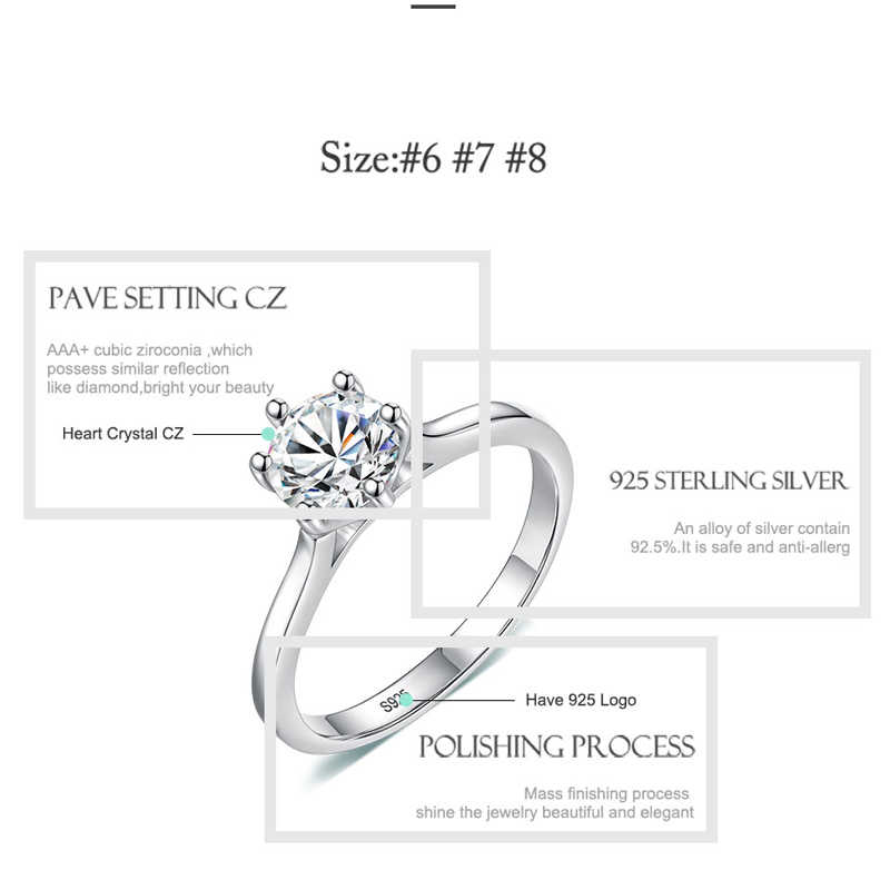 ELESHE โรแมนติก 925 เงินสเตอร์ลิงแหวน Cubic Zirconia คริสตัลแหวนผู้หญิงแฟชั่นเงินเครื่องประดับ