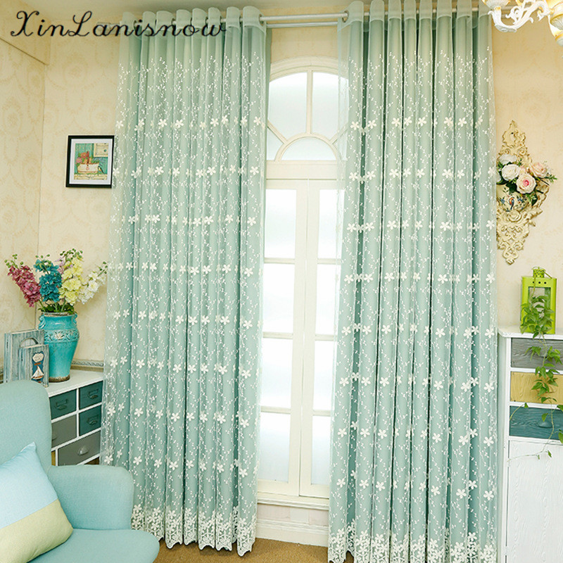 High-grade Embroidery Lace Curtains Korean Garden Window Shade Bedroom Linen Cashmere Products