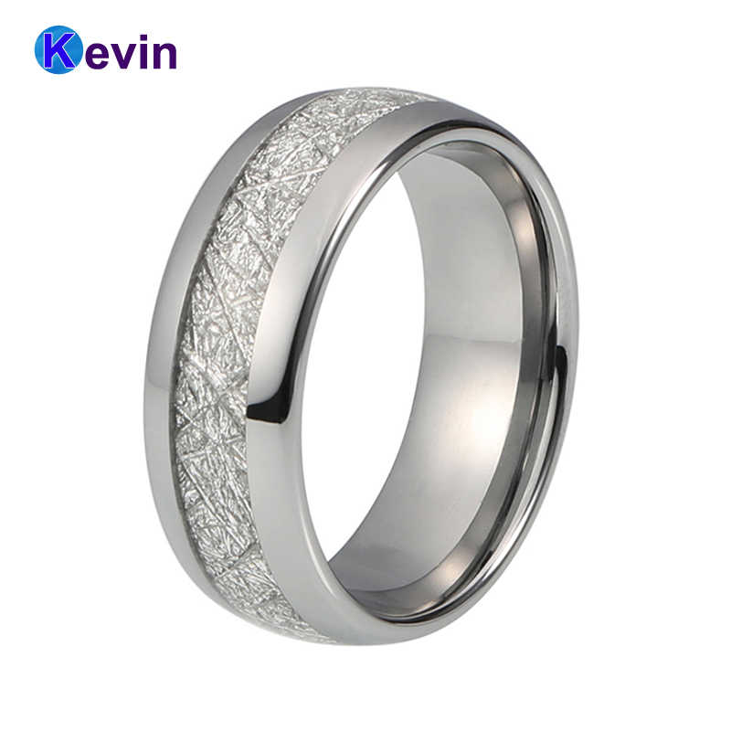 Mens Wedding Bands Tungsten.Silver Wedding Ring Tungsten Men Ring Women Rings With White Meteorite Inlay Width 8mm
