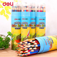 Deli 12 18 24 36 Colored Pencils High Quality Wood Colored Pencils Set For School Children