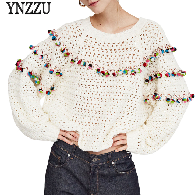 Hairball Knitted Sweater Women Casual O Neck Long Sleeve Loose Pull Femme  Jumper 2018 Autumn Winter Women Tops Pullover AT167 43fedc1a4
