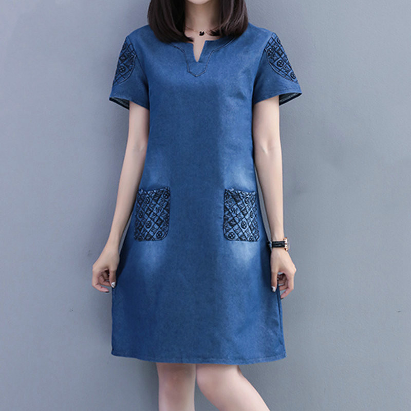 Fashion Embroidery Dresses Women Summer Blue Denim Dress Women Casual Short Sleeve Large Size Jeans Dresses