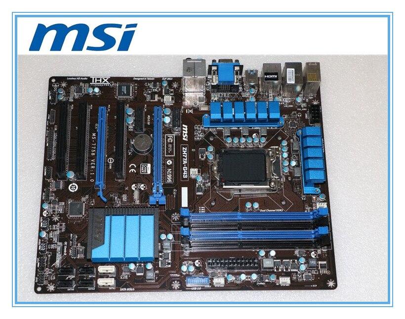 MSI Оригинал материнская плата ZH77A-G43 LGA 1155 DDR3 для i3 i5 i7 процессор 32 ГБ USB3.0 SATA3 H77 рабочего Материнская плата Бесплатная доставка