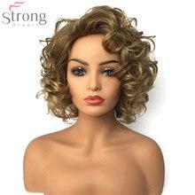 Strongbeauty peruca sintética natural médio, cabelo encaracolado loiro