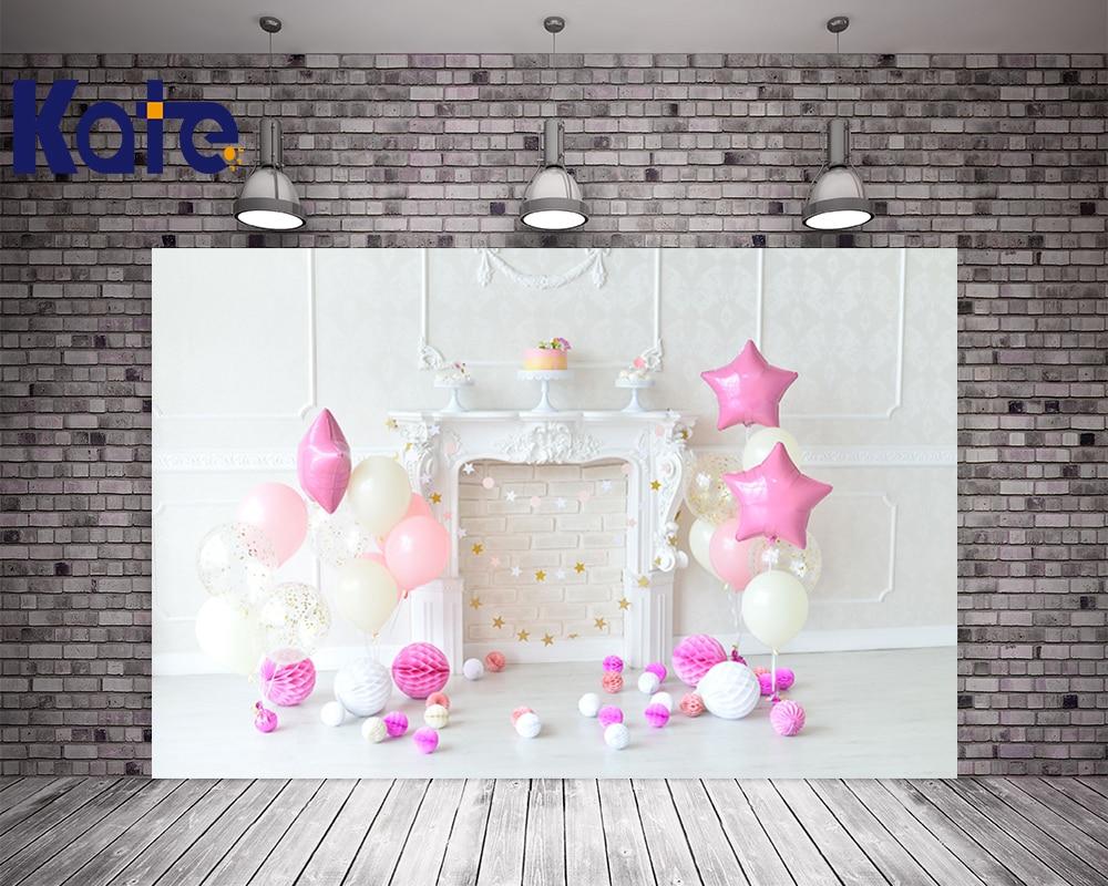 KATE 5x7ft Photo fond nouveau-né bébé Photo anniversaire toile de fond blanc brique mur fond rose ballon toile de fond pour Studio