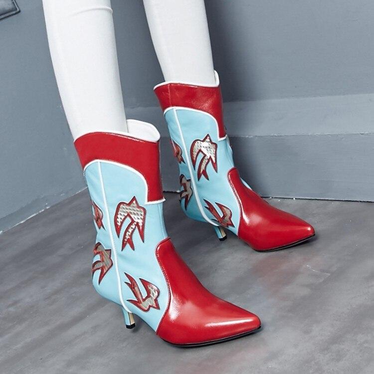 Mode gro der spitze Stiefel weibliche Zehen Gre Winter braunrot {zorssar} Damen Stil 46 e Schuhe Wade Absatz Mitte Western ethnische 3lcF1KTJ