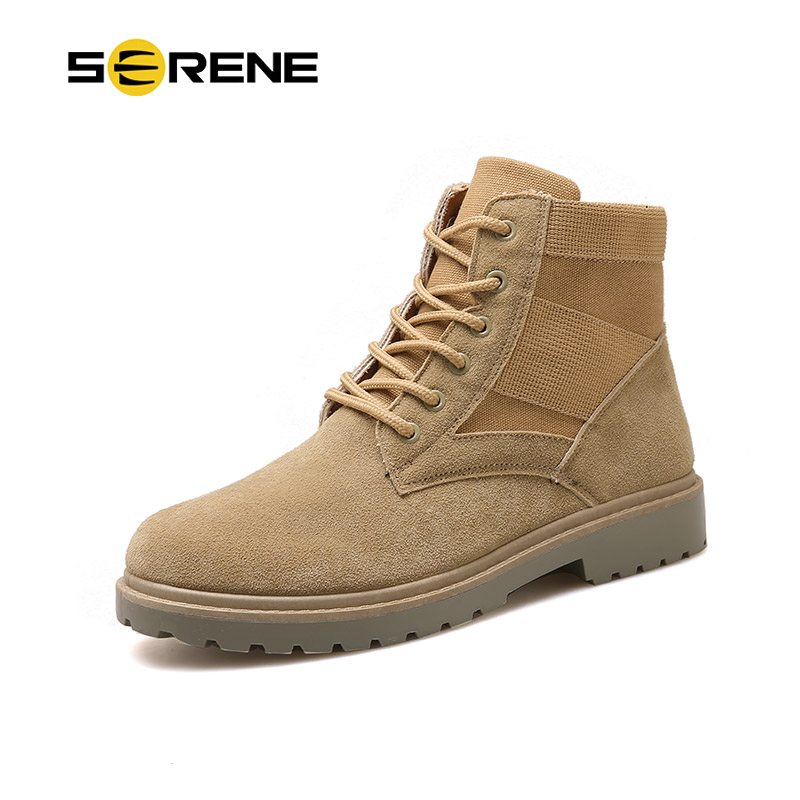 SERENE Brand Men's Boots Military boot Chukka Ankle Bot Desert High Top Army Male Causal Shoes Safety Combat Men Motocycle Boots keen men s briggs mid wp chukka boot