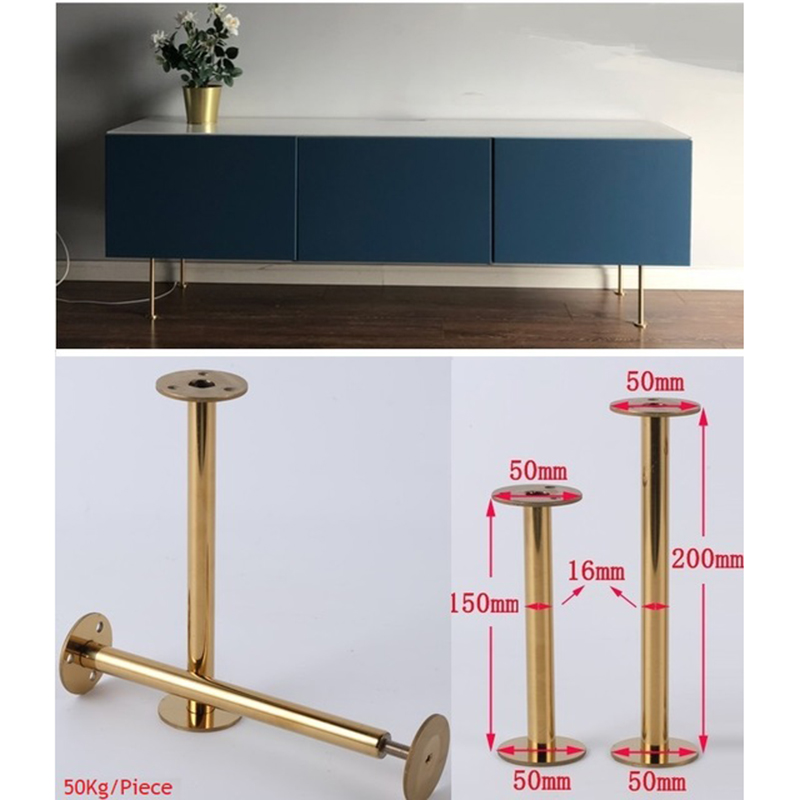 4Pcs/Lot Slim Stainless Steel Gold European Furniture TV Cabinet Coffee Bar Sofa Seat Adjustable Feet Leg
