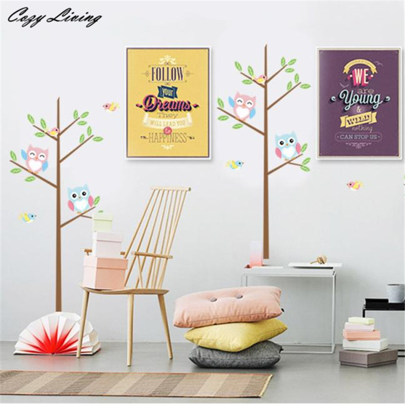 Kids Bedroom Background stickers owl picture - more detailed picture about wall stickers