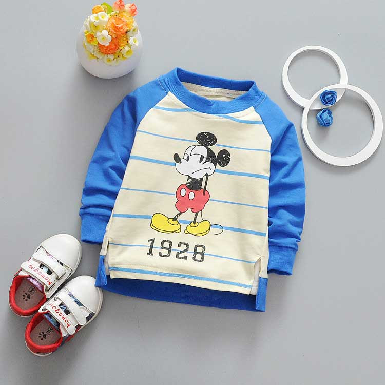 Spring Children clothing girls boys baby's stripe cartoon Mouse Letter print o-neck long sleeve t-shirt Y2041