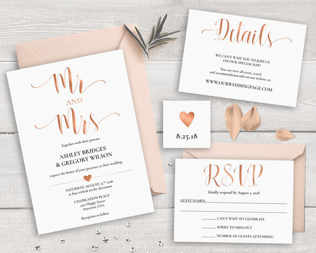Simple Flat Rose Gold Foil Print Wedding Invitationsin Cards