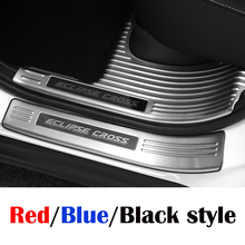 Stainless Steel Black/Blue/Red style For Mitsubishi Eclipse Cross 2018 Car styling Door Sill Scuff Plate panel Cover Trim LHD stainless steel red blue black for mitsubishi eclipse cross accessories 2018 2019 rear tailgate trunk lid cover trim car styling
