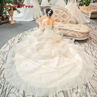Angel Tree Wedding Dress Sweetheart Sleeveless Lace Up Flowers Beading Lace Floral Print Cathedral Train Ball