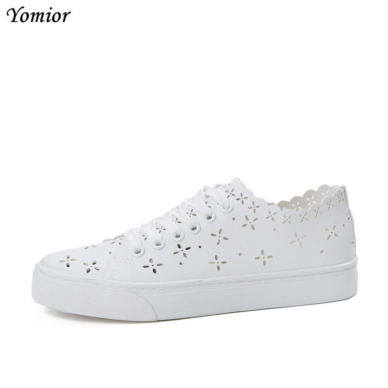 Yomior New Summer Fashion Lady Casual Shoes White Shoes Women Sneakers Chaussure Femme Loafers Breathable Leather Footwear