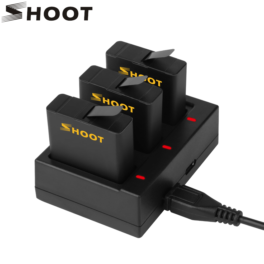 SHOOT AHDBT-501 Three/Dual Ports USB Charger With 1220mAh Battery For GoPro Hero 8 7 6 5 Black Camera Go Pro Charging Accessory