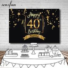 Sensfun Gelukkig 40th Verjaardagsfeestje Achtergrond Zwarte Goud Kleine Sterren Linten Fotografie Achtergronden Aangepaste 7x5FT Vinyl