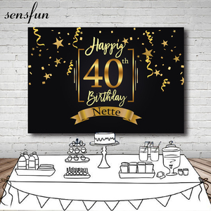 Image 1 - Sensfun Happy 40th Birthday Party Backdrop Black Gold Little Stars Ribbons Photography Backgrounds Customized 7x5FT Vinyl