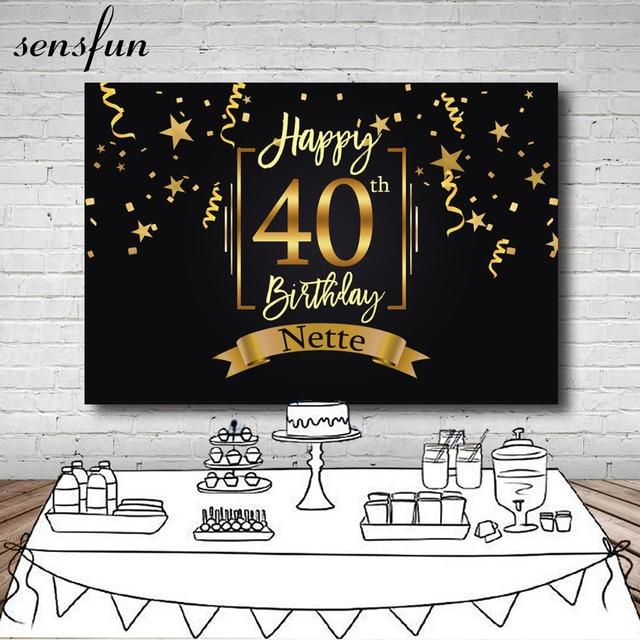 Sensfun Happy 40th Birthday Party Backdrop Black Gold Little Stars Ribbons Photography Backgrounds Customized 7x5FT Vinyl
