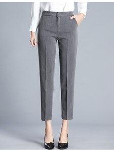 Image 1 - JUJULAND kadın pantolon ayak bileği uzunlukta düz pantolon ince kumaş artı boyutu ofis bayan tarzı giyim Yüksek dereceli pantolon 9800