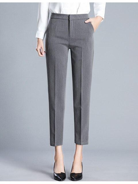 JUJULAND kadın pantolon ayak bileği uzunlukta düz pantolon ince kumaş artı boyutu ofis bayan tarzı giyim Yüksek dereceli pantolon 9800