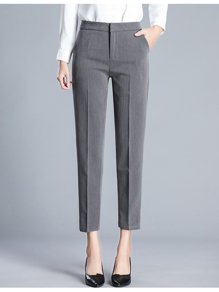 JUJULAND Woman Trousers Ankle-length Straight Pants Thin Fabric Plus Size Office Lady Style Wear High-grade Trousers 9800