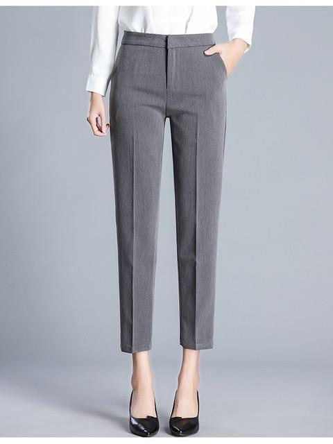 JUJULAND امرأة بنطلون طول الكاحل مستقيم السراويل رقيقة النسيج حجم كبير مكتب سيدة نمط ارتداء عالية الجودة بنطلون 9800