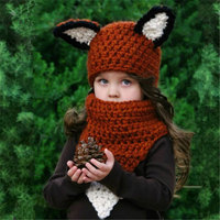 Maxmessy Cute Fox Baby Hat And Scarves Set Handmake Knitted Beanie Hairball Ear Children Hat Scarves