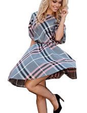 New Fashion Women Plaid Dress Cute Casual Round Neck Summer Half Sleeve Tartan Dresses