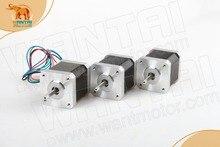 Chegada de novo! 3 PCS Motor De Passo Nema17 Wantai 42BYGHW609P1 Único Plana 4000g. cm 40mm 1.7A 4 Lead Impressora 3D D Eixo