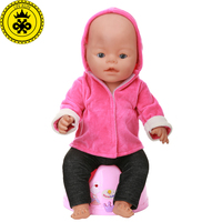 Baby Born Doll Clothes Red Hooded Jacket Black Trousers Suit Fit 43cm Baby Born Zapf Doll