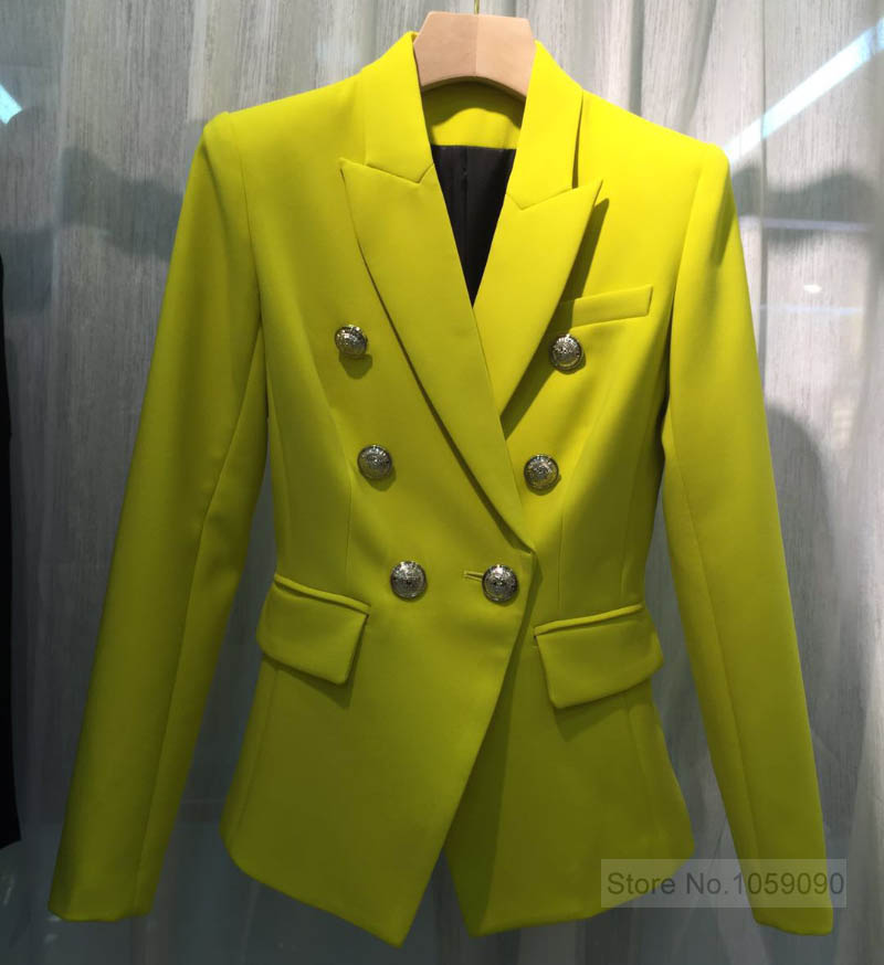 WISHBOP TOP QUALITÄT!!!! Zitrone Gelb Einfarbig Zweireiher Blazer Für Frau 2019ss Begrenzte Farbe AAA KLASSE-in Blazer aus Damenbekleidung bei  Gruppe 3